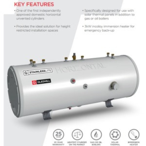 Gledhill StainlessLite Horizontal Solar Indirect Unvented Hot Water Cylinder