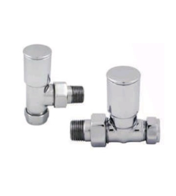 Abacus Ultima Arc 15mm Chrome Manual Radiator Valve Set