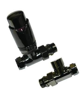 Abacus Ultima TRV8 15/10mm Angled Black Nickel TRV and Lockshield Set