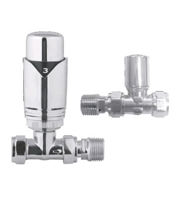 Abacus Ultima TRV5 15/10mm Straight Chrome TRV and Lockshield Set