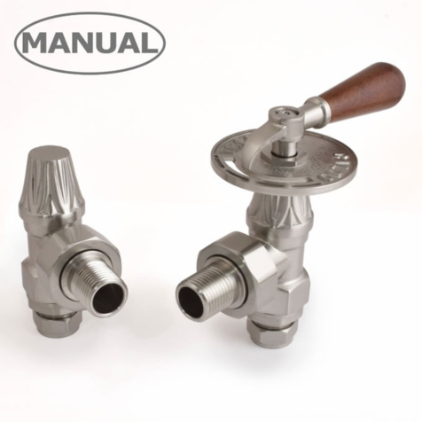Abbey Traditional Angled Satin Nickel Throttle Lever Radiator Valve Set