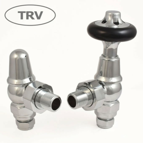 Admiral Angled Chrome TRV Radiator Valve Set