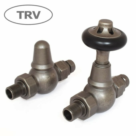 Admiral Straight Pewter TRV Radiator Valve Set