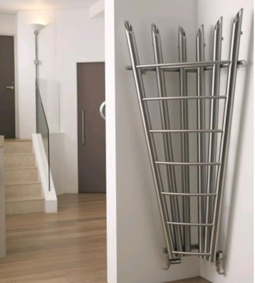 Aeon Bamboo Corner Brushed Matt Stainless Steel Radiator