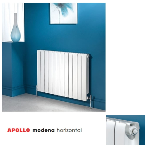 Apollo Modena Horizontal Aluminium 880mm High Radiators