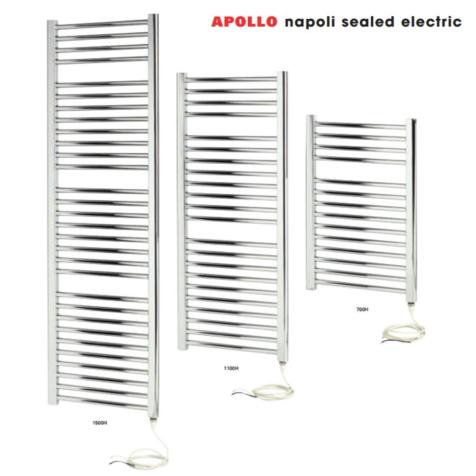 Apollo Napoli Chrome Curved Sealed Electric Towel Rails