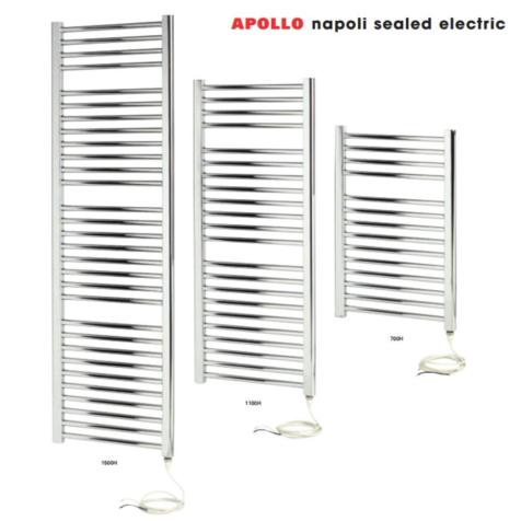 Apollo Napoli White Curved Sealed Electric Towel Rails