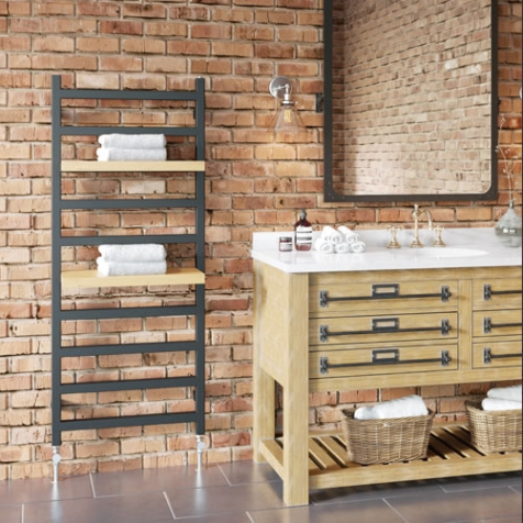 DQ Fender Matt Black Towel Rails with Optional Wood Shelf