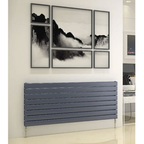 DQ Tornado Double Horizontal Dark Grey Texture or RAL Finish Radiators