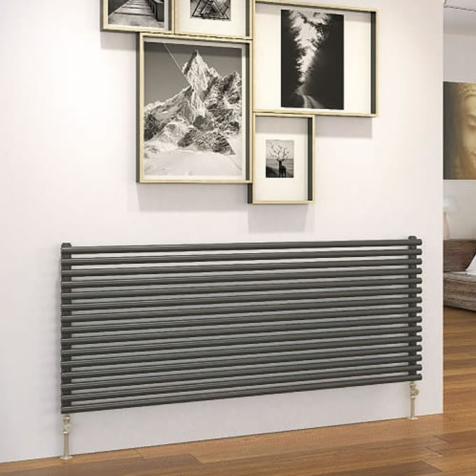 DQ Vulcano Double Horizontal Dark Grey Texture or RAL Finish Radiators