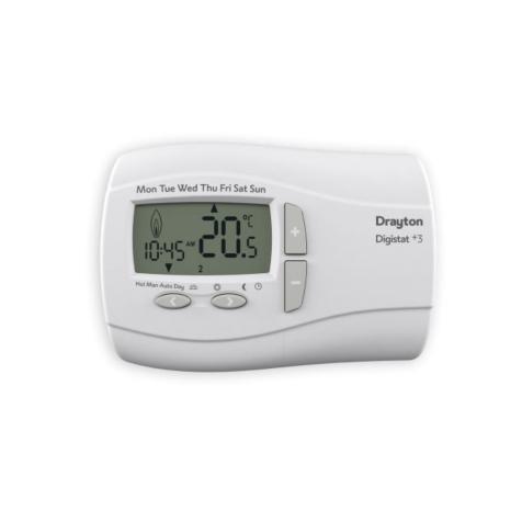 Drayton DigistatPlus 3 Programmable Room Thermostat - Mains 240v