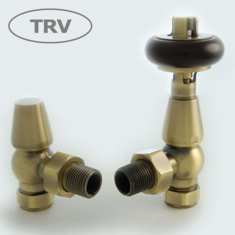 Faringdon Antique Brass Angled TRV Radiator Valve Set