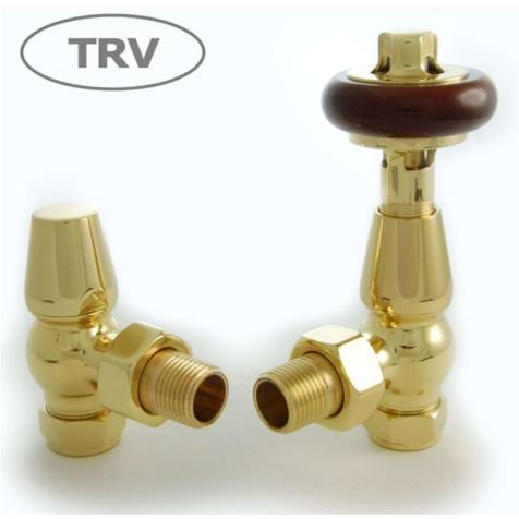 Faringdon Brass Angled TRV Radiator Valve Set
