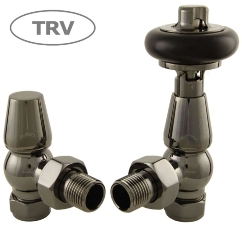 Faringdon Black Nickel Angled TRV Radiator Valve Set