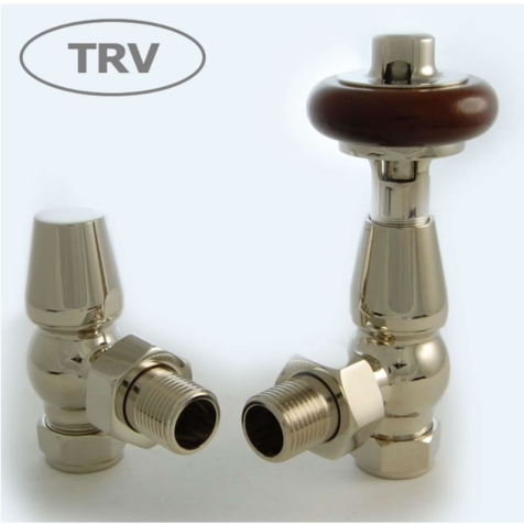 Faringdon Nickel Angled TRV Radiator Valve Set