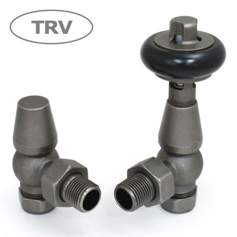 Faringdon Pewter Angled TRV Radiator Valve Set