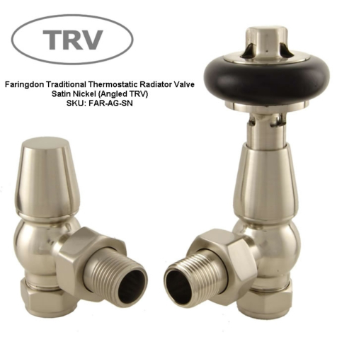 Faringdon Satin Nickel Angled TRV Radiator Valve Set