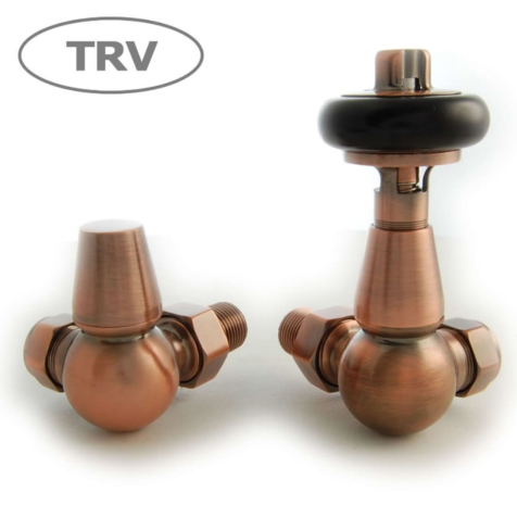 Faringdon Antique Copper Corner TRV Radiator Valve Set