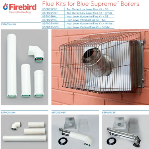 Firebird Blue Supreme Top Outlet Low Level Flue Kit in Stainless Steel