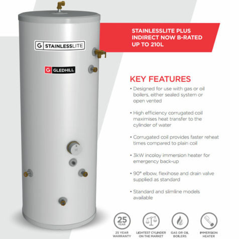 Gledhill StainlessLite Plus Slimline Indirect Unvented Cylinders