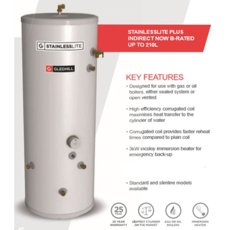 Gledhill Stainless Lite Plus Indirect Open Vented Cylinder