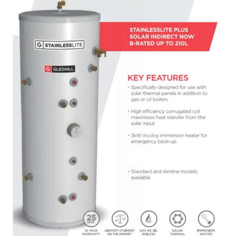 Gledhill Stainless Lite Plus Solar Indirect Open Vented Cylinder