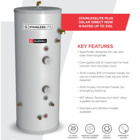 Gledhill StainlessLite Plus Slimline Solar Direct Unvented Cylinders