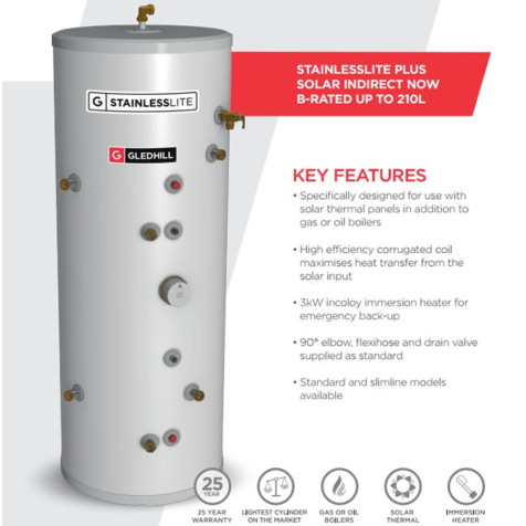 Gledhill StainlessLite Plus Slimline Solar Indirect Unvented Cylinders