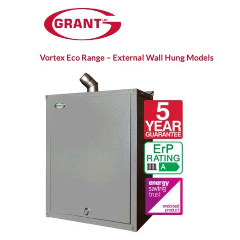 Grant Vortex Eco ErP External Wall Hung System Boiler Incl Flue