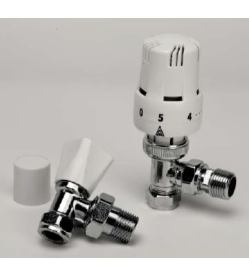 Haxby White Thermostatic Radiator Valve and Lock-shield
