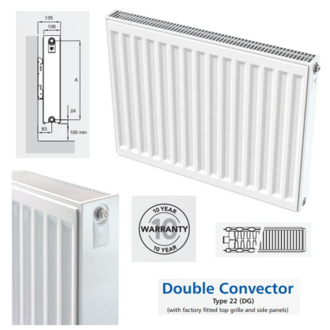 Compact Radiators Double Panel with Double Convector 600mm High