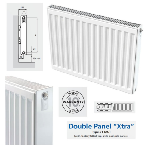 Compact Radiators Double Panel with Single Convector 600mm High