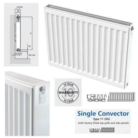 Compact Radiators Single Panel with Single Convector 450mm High
