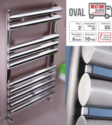 Rads 2 Rails Oval Brushed Stainless Steel Towel Rails