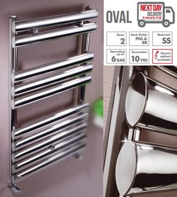 Rads 2 Rails Oval Polished Stainless Steel Towel Rails