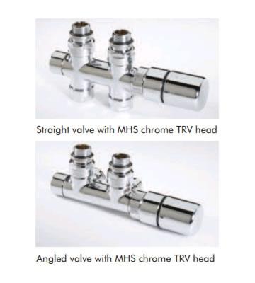 MHS Twin TRV Valve Set with Chrome Head