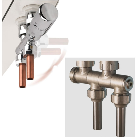 Rads 2 Rails Variocon Valve with White Integrated Thermostatic Head