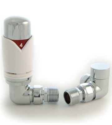 Realm Corner White Thermostatic Radiator Valve and Lock-shield