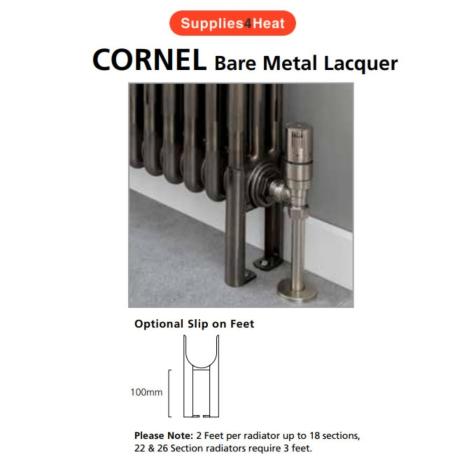 Supplies4Heat Cornel 2 Column Slip On Feet in Bare Metal Lacquer (Each)