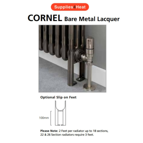 Supplies4Heat Cornel 4 Column Slip On Feet in Bare Metal Lacquer (Each)