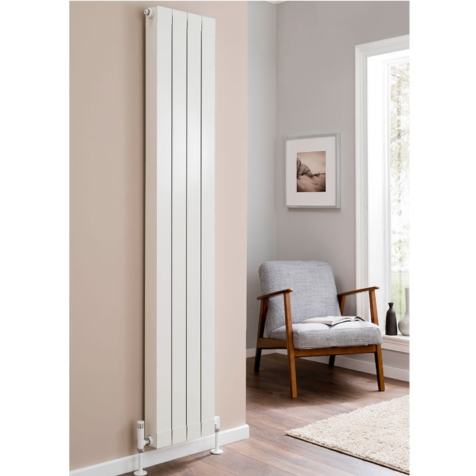 Inspired Flat Top 1646mm High Aluminium Radiators in White Finish