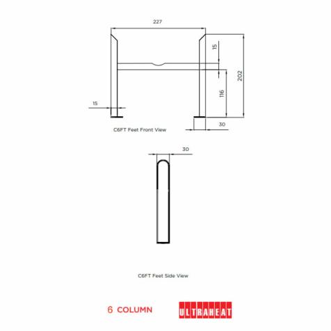 Ultraheat 4 Column Radiator Slip On Feet (Pair)