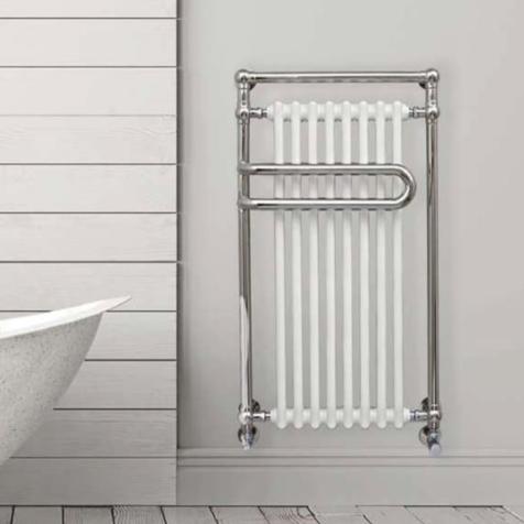 Ultraheat Devon White Column Radiator with Polished Stainless Steel Towel Rails