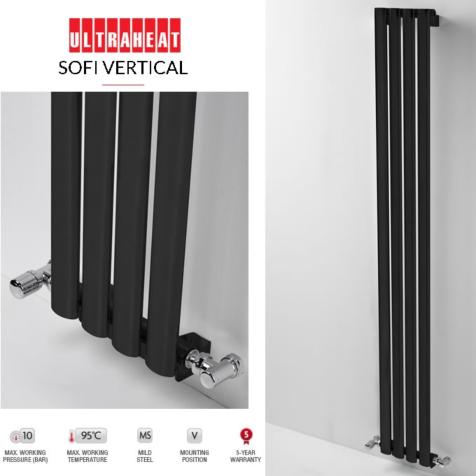 Ultraheat Sofi Vertical Black 2000mm High Radiators