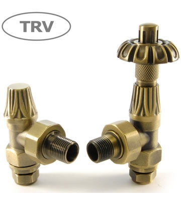 Abbey Old English Brass Angled TRV and Lock Shield Radiator Valve Set