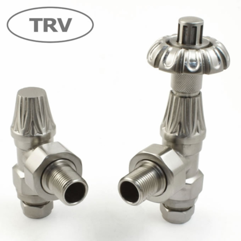 Abbey Satin Nickel Angled TRV and Lock Shield Radiator Valve Set