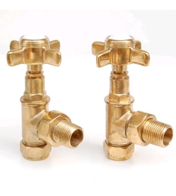 Westminster Cross Head Un-Lacquered Brass Angled Radiator Valve Set