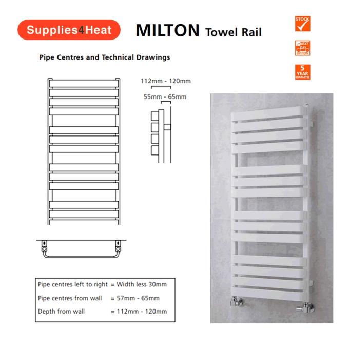 Supplies4Heat Milton Towel Rails | Supplies 4 Heat Milton Towel Warmer |  RAL Colours